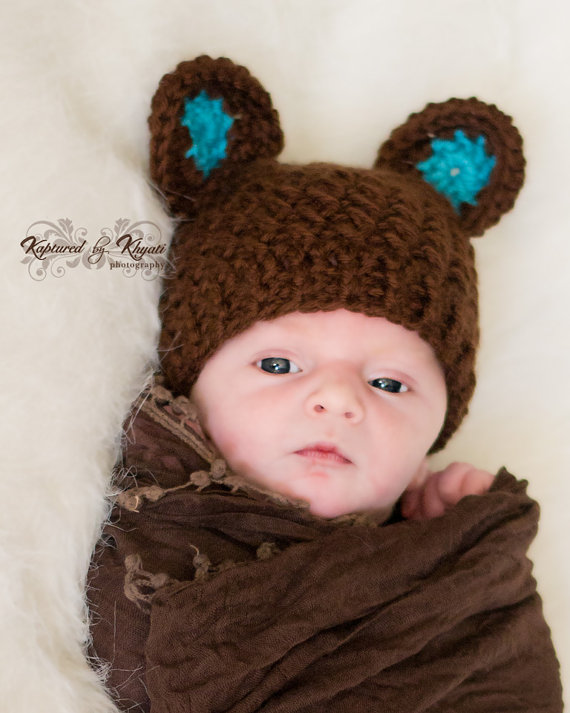 a0069e8aa Crochet Bear Hat With Ears, Baby Boy Hat, Baby Bear Hat, Baby Bear Hat