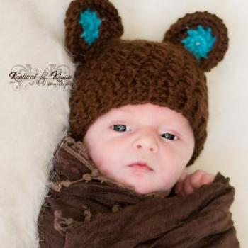 Crochet Bear Hat With Ears, Baby Boy Hat, Baby Bear Hat, Baby Bear Hat